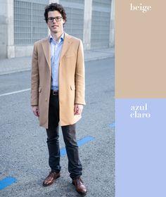Un excelente hack para mezclar colores es recordar que puedes combinar tonos claros con claros y oscuros con oscuros. Si llevas dos prendas de la misma tonalidad, dale contraste a tu look con una tercera opuesta, como en este caso los pantalones negros.