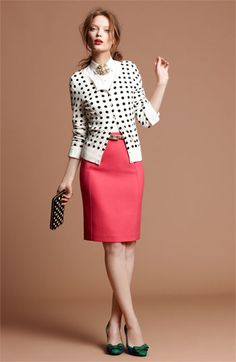 Try teaming a white and black polka dot cardigan with a red pencil skirt to create an absolutely chic and modern-looking outfit. Dark green leather pumps look amazing here. Polka Dot Cardigan, Cardigan Shirt, Shirt Skirt, Work Fashion, Fashion Outfits, Womens Fashion, Office Fashion, Spring Fashion, Looks Style
