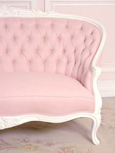 French Chic Pink Linen Settee with Roses