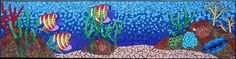 Aquarium underwater mosaic mural with colorful fish and corals on a reef installed by a swimming pool in ceramic tiles by Brett Campbell Mosaics