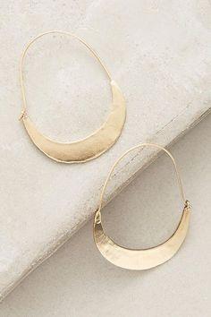 Slide View: 1: Crescent Hoop Earrings