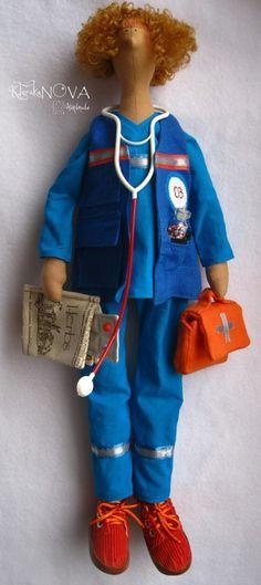 Купить Кукла-тильда Врач Скорой Помощи - синий, рыжий, кукла ручной работы, кукла