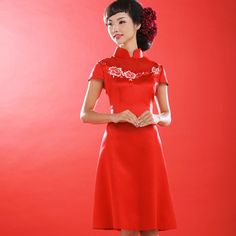 Chinese style embroidery peony  short Qipao dress red. Wonderful life