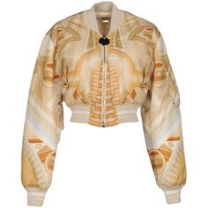 Givenchy Jacket ($1,845) ❤ liked on Polyvore featuring outerwear, jackets, beige, zip jacket, padded jacket, padded bomber jacket, beige jacket and bomber style jacket