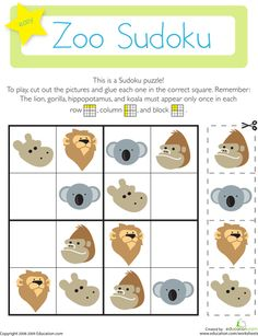 On this kindergarten math worksheet, kids use their logical reasoning and critical thinking skills to solve a fun Sudoku puzzle with a zoo theme. Pattern Worksheets For Kindergarten, Patterning Kindergarten, Fun Math, In Kindergarten, Preschool Activities, Activities For Kids, Kids Worksheets, Logic And Critical Thinking, Le Zoo