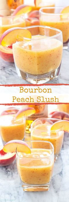 Bourbon Peach Slush ~ bourbon, peaches, and ginger ale are blended together in this delicious and easy to make cocktail! Party Drinks, Cocktail Drinks, Fun Drinks, Cocktail Recipes, Healthy Drinks, Beach Drinks, Healthy Food, Ginger Ale, Ginger Peach