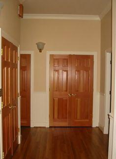 Oak doors white baseboards