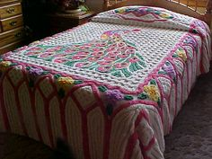 Pink peacock chenille bedspread with thick tufts size by designer2, $229.00
