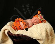 Tigger Inspired Crochet Boys or Girls Beanie Hat and Diaper Cover Set