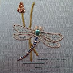 This is the perfect introduction to working with metal threads. The class kit will include everything you require to complete the project. Tambour Embroidery, Bead Embroidery Patterns, Embroidery Scissors, Gold Embroidery, Cross Stitch Embroidery, Dragonfly Wall Art, Bugs And Insects, Gold Work, Textile Art