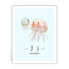 « J est pour Jellyfish » la méduse de maman et bébé plus mignon. Impression dune illustration aquarelle originale par moi.  Mes impressions sont darchivage, résistant à la décoloration et avec des couleurs vives et dureront au moins 100 ans. Jutilise imprimante Epson R3000 et encres UltraChrome K3 ™. Les types de papier que jutilise sont: ✿ 11 « x 14 » et 8,5 « x 11 » tirages : Illustration sera imprimé sur papier fine art de luxe heavyweight Epson. Ce papier est lisse et mat et vraiment…