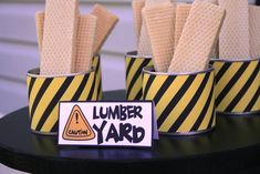"""Candy Construction Birthday Party. Cute """"lumber."""" Would go with Dirt Cake (in Cakes)."""