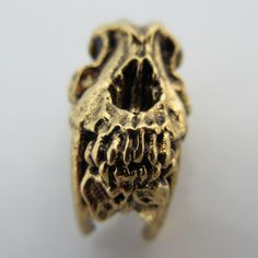 Sabretooth Bead in 18K Antique Gold Finish by Schmuckatelli Co.