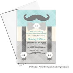 bigote ducha invitación niños  babyshower de por WillowLaneEvents