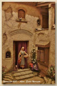Fotos de los Belenes de Emilio Morenatti Gil. – Como hacemos nuestros Belenes Christmas Village Display, Christmas Nativity Scene, Mud House, Visual Aids, Medieval, Miniatures, Bible, Portal, Painting