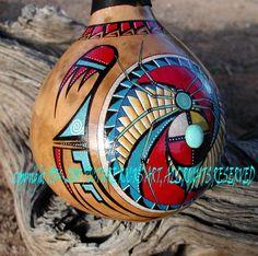Native American Indian horse hair turquoise deer antler gourd art. Description…