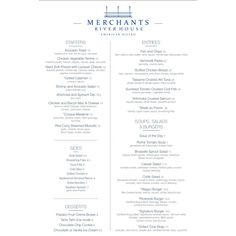 Our new menu at Merchants River House!