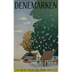 Viggo Vagnby Denemarken 1953 Danish Travel Poster (860 CAD) ❤ liked on Polyvore featuring home, home decor, wall art, posters and happiness poster