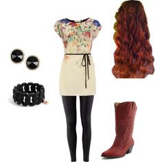 Colorful flower dress, black tights, brown cowgirl boots, black accessories, and curly orangish red hair. #style #fashion #cute