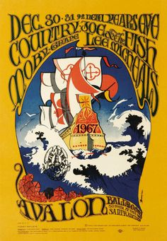 Original second printing concert poster for Country Joe and the Fish, Moby Grape and Lee Michaels at The Avalon Ballroom in San Francisco, CA in 14 x 20 inches. Artwork by Stanley Mouse and Alton Kelley. Psychedelic Rock, Psychedelic Posters, Hippie Posters, Rock Posters, Band Posters, Vintage Concert Posters, Vintage Posters, Wes Wilson, Retro Poster