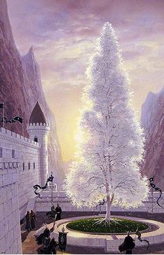 """The White Tree of Gondor, by Ted Nasmith. This is the symbol of the realm of Gondor. While there were several trees referred to as the """"White Tree,"""" the best-known of these grew in the Court of the Fountain at Minas Tirith. Jrr Tolkien, Tolkien Books, Minas Tirith, Gandalf, Legolas, Aragorn, Thranduil, Baum Von Gondor, Lotr"""