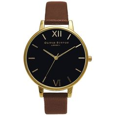 Olivia Burton Big Dial Black Dial - Tan & Gold (140 CAD) ❤ liked on Polyvore featuring jewelry, watches, oversized wrist watch, yellow gold watches, retro watches, black face watches and oversized watches