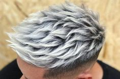 15 Best Faux Hawk Fade Haircuts For Men In 2020 Men Pastel Hair Men Hair Color . - My Gallery - haarfarbe Grey Hair Color Men, Grey Hair Dye, Cool Hair Color, Hair Colors, Silver Hair Men, Boys Colored Hair, Dyed Hair Men, Professional Hair Color, Short Hair Styles