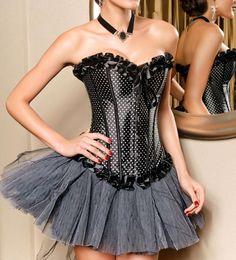 Lace Embellished Black Satin Bustier