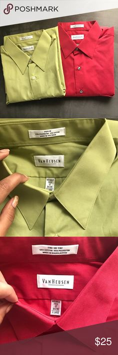 Bundle 2 new wrinkle free XL van heusen shirts Bundle 2 new wrinkle free XL van heusen shirts. Brand new shirts, no tags, no packaging. Olive green and dark red colors. 17; 34/35. Bundle to save. Price firm unless bundled. Van Heusen Shirts Dress Shirts