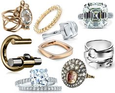 Le sigh. Put a ring on it. Shown left-to-right, top-to-bottom: Lucifer Vir Honestus Primavera Ring; Tiffany Twist Ring in gold; Tiffany's Paloma's silver Sugar Stacks ring; Oh, what's that? An Asscher cut engagement ring? How'd that get here?…anyway; Reed Krakoff two-tone T-Bar Ring; Frank Gehry® Torque ring in rose gold; Hermes silver buckle ring; How embarrassing. Another engagement ring. This one's a Tiffany Novo cushion-cut; Olivia Collings Antique Jewelry Diamond and Topaz Button Ring