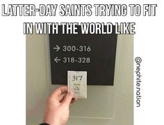#fittingin #lds #mormon #latterdaysaints #ldslaughs #christian #standout #different #hotel #worldly Lds Memes, Lds Mormon, Latter Day Saints, Cards Against Humanity, Christian, Photo And Video, Instagram, Christians