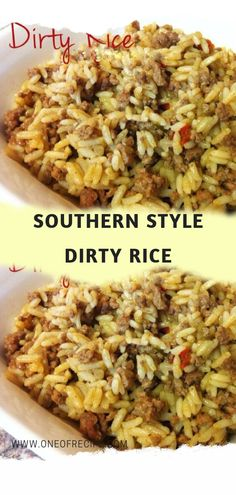 southern recipes Southern Style Dirty Rice Page 2 One Of Recipe Dirty Rice Recipe Easy, Easy Rice Recipes, Cajun Recipes, Side Recipes, Dinner Recipes, Soul Food Recipes, White Rice Recipes, Sausage Recipes, Thai Recipes
