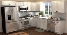 All Wood Cabinetry from Costco. This is my kitchen exactly how I want it! Minus a different backsplash.