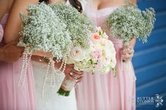 Blush bridesmaids. Baby's breath bouquets with pearls. Soft pink and gray weeding #weddingdesignstudio #butterstudios @butterstudios