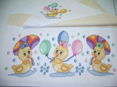 Cross Stitch Animals, Cross Stitch Flowers, Cross Stitching, Cross Stitch Embroidery, Baby Sheets, Easter Cross, Baby Towel, Embroidery Designs, Diy And Crafts
