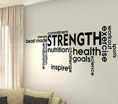 Strength Fitness Words - Training Motivation Workout Gym Fitness Heart Life Family Love House Together Quotes wall vinyl decals stickers Art Decor DIY