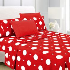 Latitude Run Sabion Premium Polka Dot Sheet Set Size: Full 100 Cotton Sheets, Cotton Sheet Sets, Bed Sheet Sets, Flat Sheets, Bed Sheets, Polka Dot Print, Polka Dots, Polka Dot Bedding, Suites