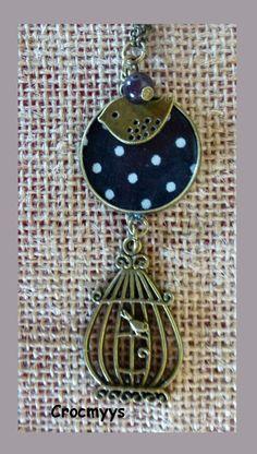Sautoir rétro noir à pois blancs : Collier par crocmyys