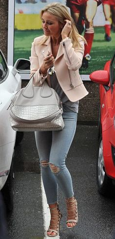 Fashionista: Alex was stylish in skinny ripped jeans, heels and a pale pink jacket with her long blonde hair loose around her shoulders
