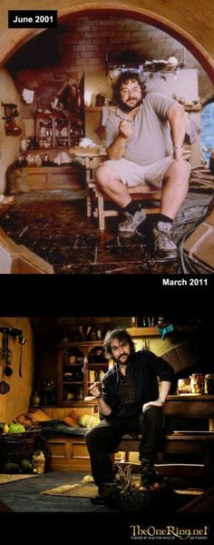 Peter Jackson gets comfortable in Bilbo's hobbit hole on the sets of The Lord of the Rings and The Hobbit.