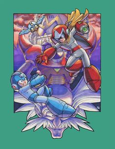 """""""Blue Twilight"""" (Mega Man 5)  An illustration done for Capcom's Mega Man Legacy Collection Art Contest, the objective is to reimagine a cover art for one of the 6 classic Mega Man titles cont..."""
