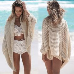 Sexy Ladies Women Knitted Hollow Out Bikini Cover Up Casual Beach Cardigan Knitting Top Sweater