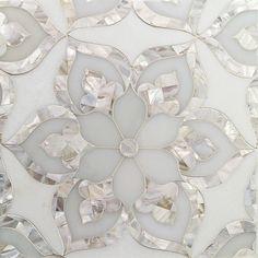 Aurora with White Thassos Royal White and Pearl Glass and Marble Tile Backsplash inspo Mother Of Pearl Backsplash, Motif Art Deco, Mosaic Tiles, Marble Tile Backsplash, Marble Mosaic, Marble Top, Creation Deco, Kitchen Tiles, Tile Patterns