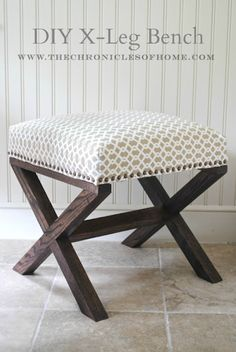 Tutorial for DIY X Leg Upholstered Bench - might be good for a vanity seat Upholstered Ottoman Coffee Table, Upholstered Rocking Chairs, Diy Ottoman, Bench Cushions, Home Renovation, Vanity Seat, Vanity Stool, Vanity Tables, Diy Vanity