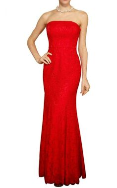 2ae4eee5dd BCBG Lace Long Strapless Slim Red Evening Gown Bcbg Dresses