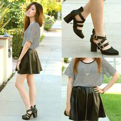 Daily Look Striped Tee, Daily Look Black Pleather Skirt