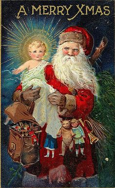 Santa Claus Holds Baby Jesus - A Merry Xmas - x Victorian Era Christmas Card w/Envelope - Blank Inside by ForgottenArtCards on Etsy Vintage Christmas Images, Old Fashioned Christmas, Christmas Past, Victorian Christmas, Father Christmas, Vintage Holiday, Christmas Pictures, Christmas Greetings, Christmas Postcards