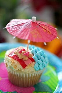 Beach party cupcake idea-alot of work but very cute :-)