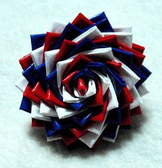Duct Tape Rose Mum Flower Ring Adjustable Red White by TUTreasures Duct Tape Rose, Duct Tape Flowers, Red White Blue, Blue And Silver, Pink And Green, Little Flowers, Mum Flower, Flower Rings, Duck Tape Crafts