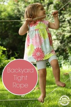 A backyard tight-rope is one of the best and easiest activities you can add to your backyard play space. So much fun and learning to be had! Backyard Play Spaces, Outdoor Play Spaces, Backyard Playground, Backyard For Kids, Backyard Games, Outdoor Fun, Backyard Ideas, Playground Ideas, Backyard Playhouse